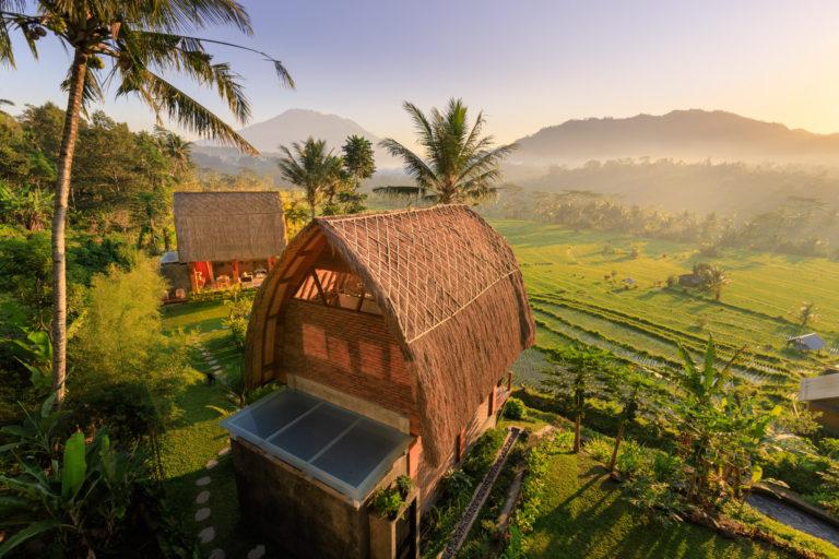 Morning views over Villa Umah Dewi Sri holiday home in Sidemen