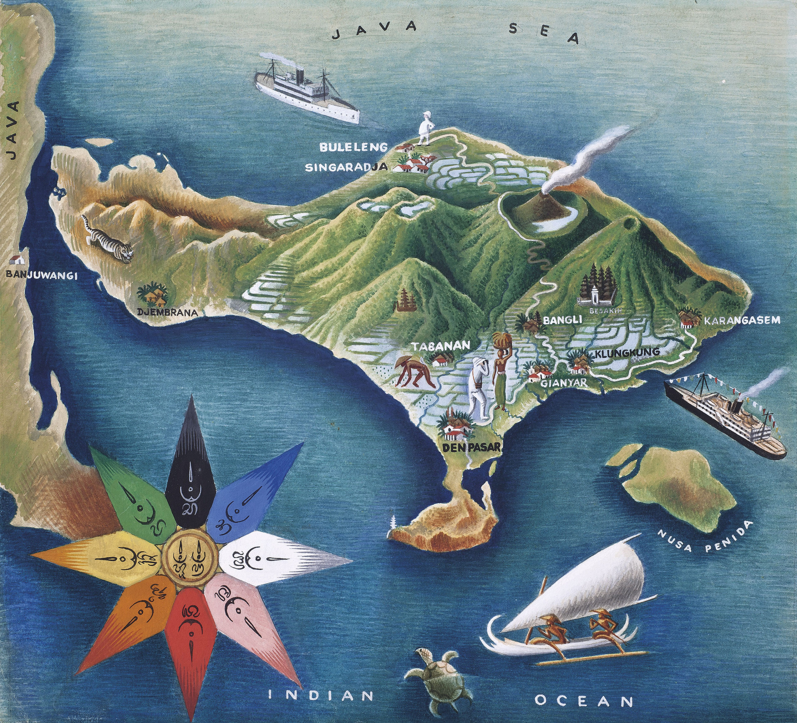 Map of Bali with the Rose of the Winds. Gouache and watercolour on paper. MIGUEL COVARRUBIAS (Mexican, 1904-1957)