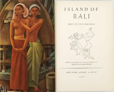 """Painting of two balinese women by Miguel Covarrubias and the first page of his book """"Island of Bali"""". First published in 1937."""