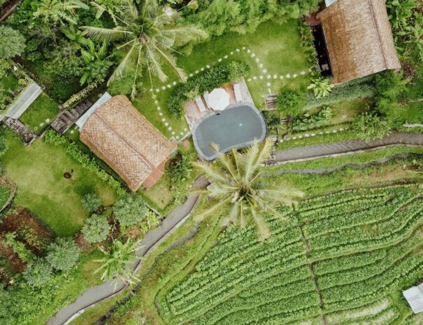 Areal view of Villa Uma Dewi Sri in Sidemen in Bali
