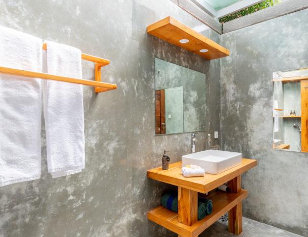 Modern bathroom of Villa Uma Dewi Sri in Sidemen in Bali