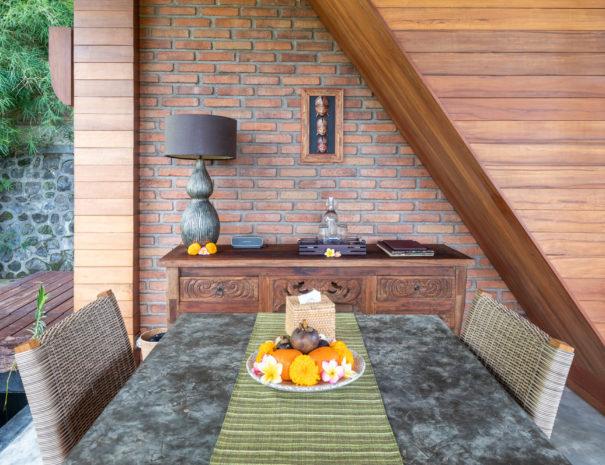 Private dining area of Villa Uma Dewi Sri in Sidemen in Bali