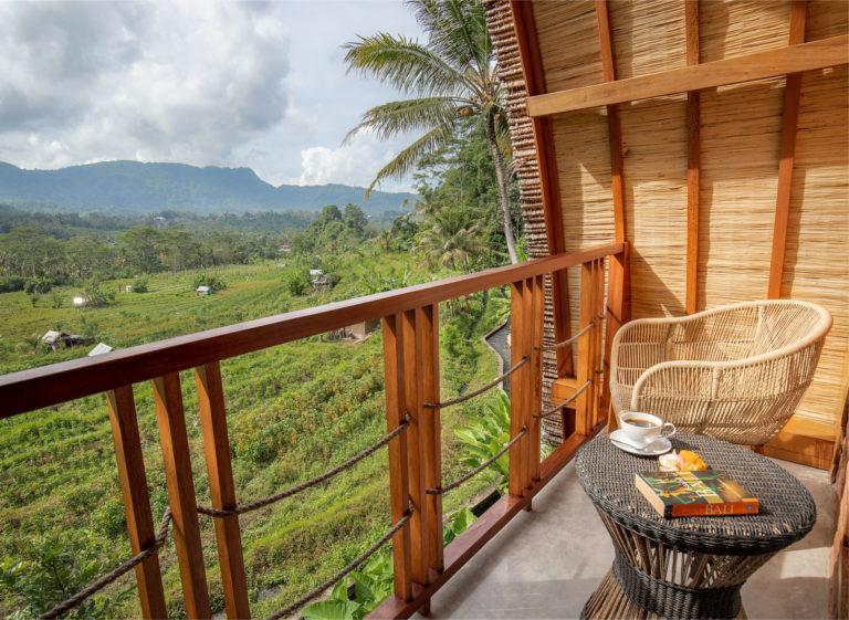 Views from the bedroom balcony in airbnb Villa Uma Dewi Sri in Sidemen in Bali